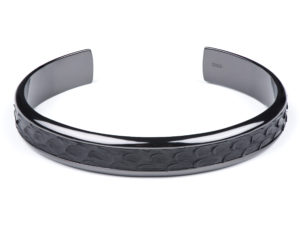 Black Gunmetal Cuff with Python Inlay - Cuffs - 5th and Envy
