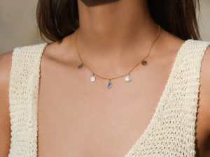 SLICED DIAMOND CHARM NECKLACE 2