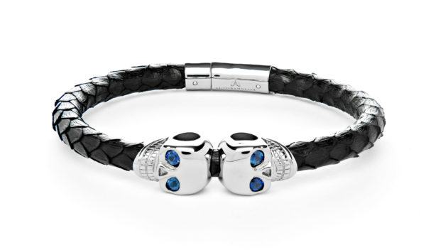 Black Python Skull Bracelet with Sapphire Eyes - Bracelet - 5th and Envy