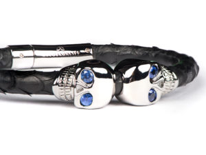 BLACK PYTHON LEATHER SKULL BRACELET WITH SAPPHIRE EYES 2
