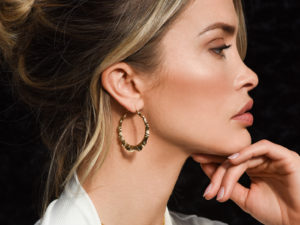 GOLD BAMBOO HOOP EARRINGS 2