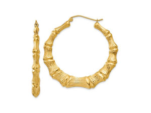 Gold Bamboo Hoop Earrings - Earrings - 5th and Envy