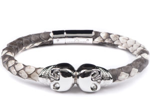 NATURAL PYTHON LEATHER & WHITE GOLD SKULL BRACELET 1