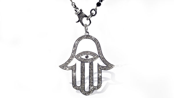 Hamsa Hand Diamond Pendant & Chain - Necklace - 5th and Envy