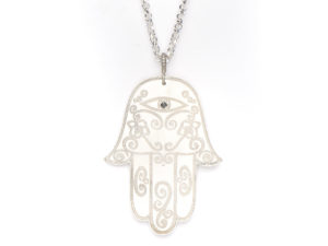 Oxidized Hamsa Hand Pendant & Chain - Necklace - 5th and Envy