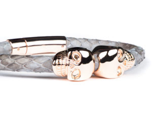 GRAY PYTHON LEATHER & ROSE GOLD SKULL BRACELET 2