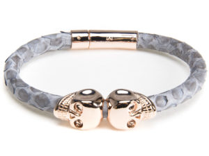Gray Python Rose Gold Skull Bracelet - Bracelet - 5th and Envy