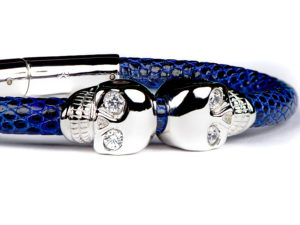 BLUE LIZARD LEATHER & WHITE GOLD SKULL BRACELET 2