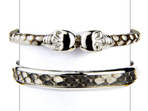 Natural Python Cuff & Skull Bracelet Set - Cuffs - 5th and Envy