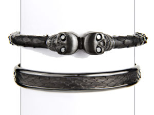 Black Diamond Skull Bracelet Cuff Set - Cuffs - 5th and Envy