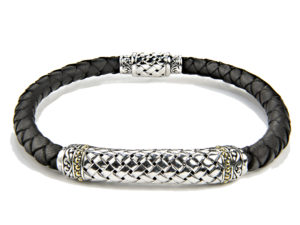 Two Tone Leather Bracelet - Bracelet - 5th and Envy