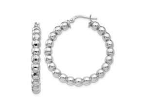 Silver Beaded Hoops - Earrings - 5th and Envy